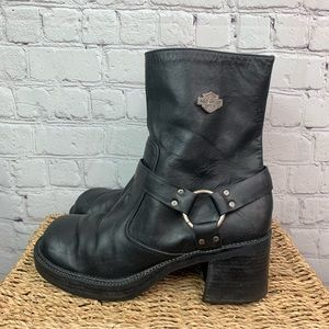 Harley Davidson Vintage Leather Heeled Boots 8.5